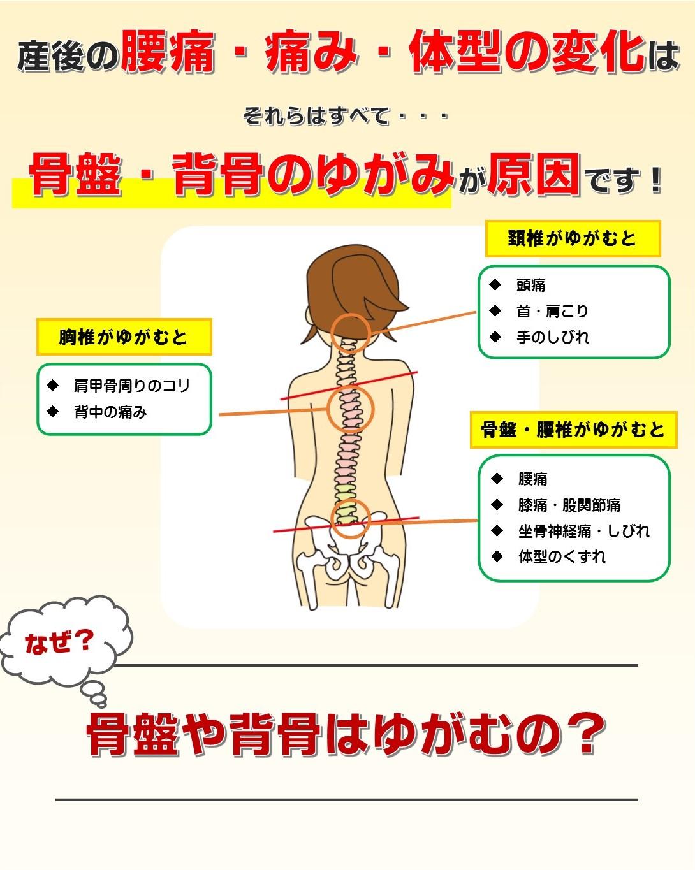 産後の腰痛・痛み・体型の変化の原因は骨盤と背骨のゆがみ